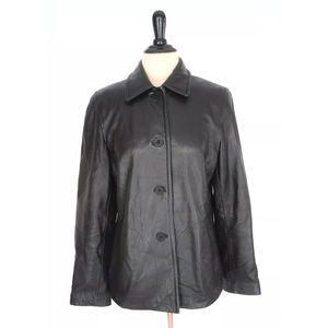 NINE WEST Black Soft 100% Leather JACKET Coat M 8